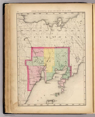 Upper Peninsula, scale six miles to an inch (Delta County. Drawn, compiled, and edited by H.F. Walling, C.E. ... Published by R.M. & S.T. Tackabury, Detroit, Mich. Entered ... 1873, by H.F. Walling ... Washington. The Claremont Manufacturing Company, Claremont, N.H., Book Manufacturers)