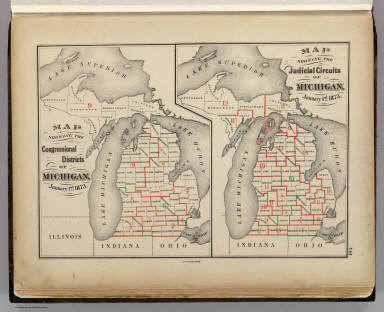 Map showing the congressional districts of Michigan, January 1st, 1873. (with) Map showing the judicial circuits of Michigan, January 1st, 1873. The Calvert Lith. Co., Detroit. (Drawn, compiled, and edited by H.F. Walling, C.E. ... Published by R.M. & S.T. Tackabury, Detroit, Mich. Entered ... 1873, by H.F. Walling ... Washington. The Claremont Manufacturing Company, Claremont, N.H., Book Manufacturers)