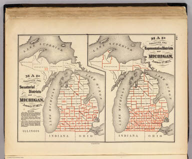 Map showing the senatorial districts of Michigan, January 1st, 1873. (with) Map showing the representative districts of Michigan, January 1st, 1873. The Calvert Lith. Co., Detroit. (Drawn, compiled, and edited by H.F. Walling, C.E. ... Published by R.M. & S.T. Tackabury, Detroit, Mich. Entered ... 1873, by H.F. Walling ... Washington. The Claremont Manufacturing Company, Claremont, N.H., Book Manufacturers)
