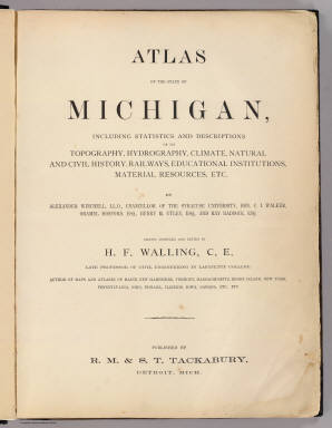 Title Page: Atlas of the State of Michigan. / Walling, H. F. / 1873
