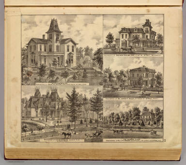 """""""Eichenwald,"""" residence of J.M. Keller, (with residences of) E.S. Goodrich, Monroe Sheire, James T. Alley, T.M. Newson, St. Paul, Minn. / Andreas, A. T. (Alfred Theodore), 1839-1900 / 1874"""