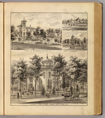 Residences of H.H. Sibley, Wm. Nettleton, J.A. Wheelock, St. Paul and Greenhouse & nursery of L.M. Ford, Ramsey Co., Minn. / Andreas, A. T. (Alfred Theodore), 1839-1900 / 1874