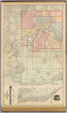 Plan of the City of Minneapolis and vicinity, with Minnehaha Falls. / Andreas, A. T. (Alfred Theodore), 1839-1900 / 1874