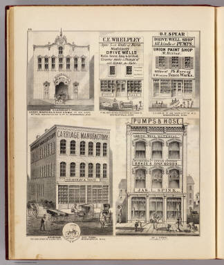 Grimshaw and Town, Jas. L. Spink, Richardson's Livery, Boarding & Sale Stable, C.E. Whelpley, O.E. Spear Shop, Union Paint Shop, Minneapolis, Minn. / Andreas, A. T. (Alfred Theodore), 1839-1900 / 1874