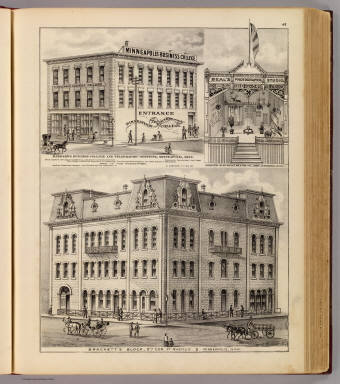 Brackett's Block, Barnard's Business College and Telegraphic Inst., Beal's Photographic Studio, Minneapolis, Minn. / Andreas, A. T. (Alfred Theodore), 1839-1900 / 1874