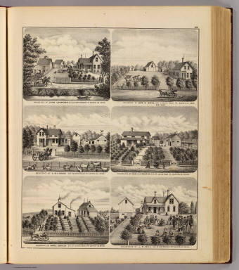 Residences of J. Lanphear and J.N. Bill, Waterford Tp., and J.W. Works,  E.B. Higgins, C. Livingston and S. Harnden, Castle Rock Tp., Minn. / Andreas, A. T. (Alfred Theodore), 1839-1900 / 1874