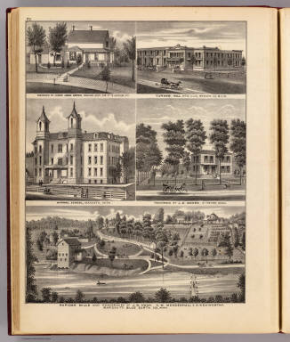 Rapidan Mills and residences in Rapidan Tp., Mankato and St. Peter; Normal School, Mankato; and Turner Hall, New Ulm, Minn. / Andreas, A. T. (Alfred Theodore), 1839-1900 / 1874