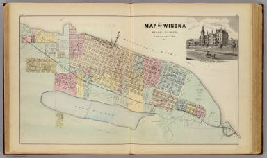 Map of Winona, Minn., with view of State Normal School. / Andreas, A. T. (Alfred Theodore), 1839-1900 / 1874