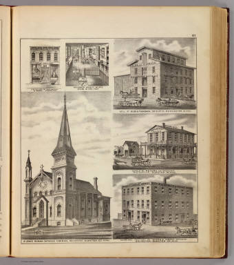 St. John's Roman Catholic Church with views of businesses, Rochester, Minn. / Andreas, A. T. (Alfred Theodore), 1839-1900 / 1874