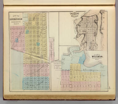 Map of Litchfield; Plan of Willmar; Brainerd, Minnesota. / Andreas, A. T. (Alfred Theodore), 1839-1900 / 1874