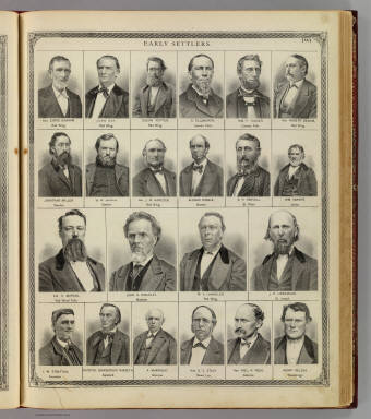 (Portraits of) Early settlers: Chris Graham, John Day, Calvin Potter, et al. / Andreas, A. T. (Alfred Theodore), 1839-1900 / 1874