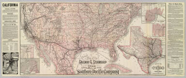 Correct map of the railway & steamship lines operated by the Southern Pacific Company [United States and Mexico]. Poole Bros., Map Engravers, Chicago. (inset) County map of Texas showing the Atlantic System of the Southern Pacific Company. (inset) San Francisco, California. (inset) Los Angeles, California. (inset) New Orleans. (inset) San Antonio, Texas.