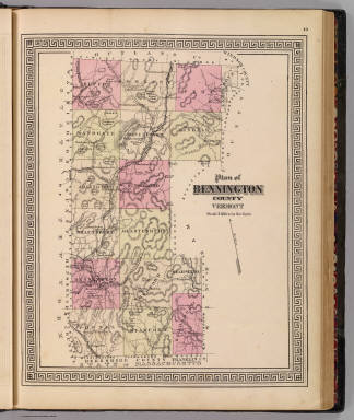 Plan of Bennington County, Vermont. (Published by H.W. Burgett & Co. 36 Vesey Street, New-York. 1876. Entered ... 1876 by H.W. Burgett & Co. ... Washington D.C. Engraved & printed by J.B. Beers & Co. 36 Vesey St. N.Y.)