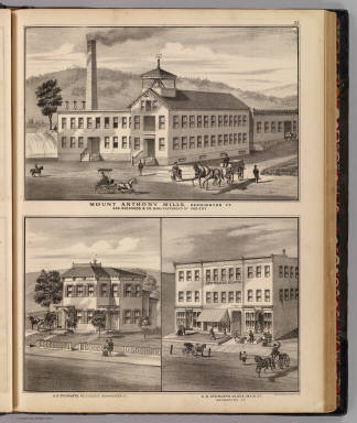 Mount Anthony Mills, Bennington, Vt. Geo. Rockwood & Co., manufacturers of hosiery. (with) A.D. Stewarts residence, Bennington, Vt. (with) A.D. Stewarts block, Main St., Bennington, Vt. Lith. of Chas. Hart, 36 Vesey St., N.Y. (Published by H.W. Burgett & Co. 36 Vesey Street, New-York. 1876. Entered ... 1876 by H.W. Burgett & Co. ... Washington D.C. Engraved & printed by J.B. Beers & Co. 36 Vesey St. N.Y.)