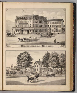 Brattleboro House, and Res. of J.T. Freeman, Hydeville, Rutland Co., Vermont. / Packard, H. S.; H.W. Burgett and Company; Beers, J.B. & Co. / 1876