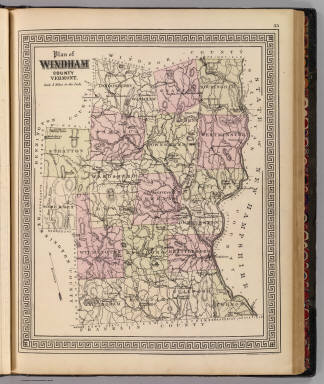 Plan of Windham County, Vermont. Ed. W. Welcke & Bro., Photo-Lithographers, 176 William St., N.Y. (Published by H.W. Burgett & Co. 36 Vesey Street, New-York. 1876. Entered ... 1876 by H.W. Burgett & Co. ... Washington D.C. Engraved & printed by J.B. Beers & Co. 36 Vesey St. N.Y.)