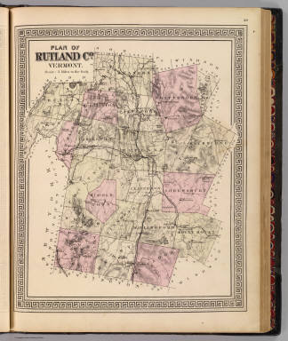 Plan of Rutland Co., Vermont. (Published by H.W. Burgett & Co. 36 Vesey Street, New-York. 1876. Entered ... 1876 by H.W. Burgett & Co. ... Washington D.C. Engraved & printed by J.B. Beers & Co. 36 Vesey St. N.Y.)