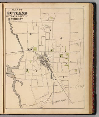 Plan of Rutland, Rutland County, Vermont. (Published by H.W. Burgett & Co. 36 Vesey Street, New-York. 1876. Entered ... 1876 by H.W. Burgett & Co. ... Washington D.C. Engraved & printed by J.B. Beers & Co. 36 Vesey St. N.Y.)