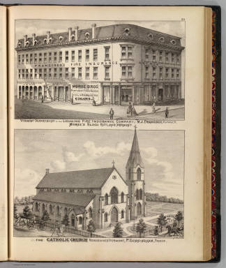 Vermont Department of the Lycoming Fire Insurance Company, M.J. Francisco, manager, Morse's Block, Rutland, Vermont. (with) The Catholic Church, Vergennes, Vermont, P. Cunningham, priest. (Published by H.W. Burgett & Co. 36 Vesey Street, New-York. 1876. Entered ... 1876 by H.W. Burgett & Co. ... Washington D.C. Engraved & printed by J.B. Beers & Co. 36 Vesey St. N.Y.)