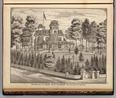 Residence of Genl. H.H. Baxter, Rutland, Vermont. / Packard, H. S.; H.W. Burgett and Company; Beers, J.B. & Co. / 1876