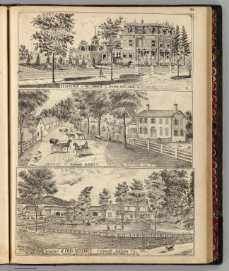 Dunn, Burditt and Benedict residences in Rutland, Pittsford and Cornwall, Vt. / Packard, H. S.; Barry, A. S.; H.W. Burgett and Company; Beers, J.B. & Co. / 1876