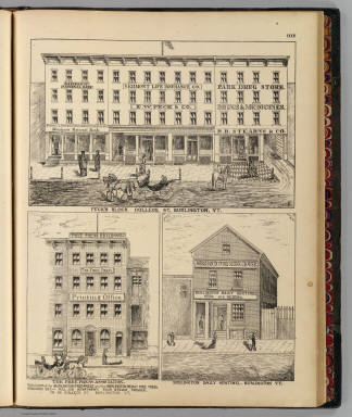 Peck's Block, College St., Burlington, Vt. B(arry, del.). (with) The Free Press Association ... Burlington, Vt. B(arry, del.). (with) Burlington Daily Sentinel, Burlington, Vt. (Published by H.W. Burgett & Co. 36 Vesey Street, New-York. 1876. Entered ... 1876 by H.W. Burgett & Co. ... Washington D.C. Engraved & printed by J.B. Beers & Co. 36 Vesey St. N.Y.)