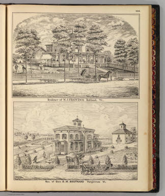 Residence of M.J. Francisco, Rutland, and Res. of S.M. Southard, Vergennes, Vt. / Addis, ; Packard, H. S.; H.W. Burgett and Company; Beers, J.B. & Co. / 1876