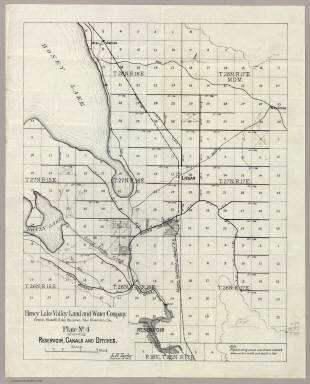 Plate No.4 showing reservoir, canals and ditches : [Honey Lake Valley, Calif.] Honey Lake Valley Land and Water Company. Office: Room 6, Flood Building, San Francisco, Cal. L.H. Taylor, Engineer-in-Chief. (1891?)