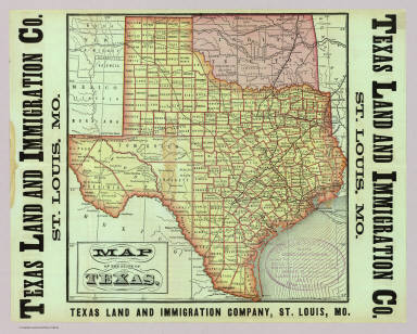 Map of the state of Texas. Woodward, Tiernan & Hale, Map Engr's St. Louis. Texas Land and Immigration Co. St. Louis, Mo. (1876)