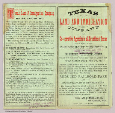 Cover: State of Texas. / Texas Land and Immigration Company / 1876