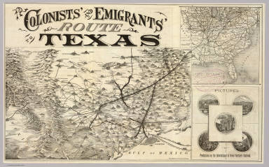 Colonists' and emigrants' route to Texas. Rand, McNally & Co., Engr's, Chicago. (untitled inset map of the eastern half of the United States). (1878?)