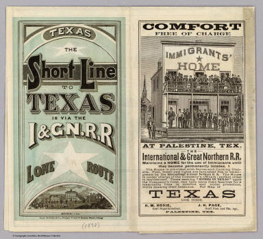 (Covers to:) Texas, the short line to Texas is via the I & GN. R.R. Lone (Star) route. Austin, Tex. Rand McNally & Co., Printers 77 and 79 Madison Street, Chicago. (1878?)