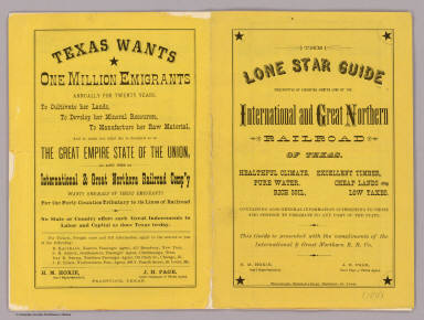 (Covers to:) The Lone Star guide descriptive of counties on the line of the International and Great Northern Railroad of Texas ... Woodward, Tiernan & Hale, Printers, St. Louis.