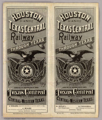 (Covers to:) Houston and Texas Central Railway through Texas. Northern to southern boundary and with branches and Texas Central Railway through central and western Texas ... 461-July-85. Rand, McNally & Co., Printers, Chicago.