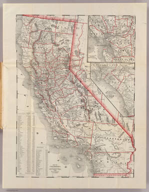 Map of California, prepared for the State Board of Trade, 1892 ... By the Elliot (sic) Pub. Co., S.F. (with) Map of section surrounding San Francisco. (with) Map showing Orange Co., and part of Los Angeles, San Bernardino and San Diego counties.