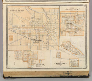 Plan of South Bend (with) Mishawaka, Bremen, Syracuse. / Andreas, A. T. (Alfred Theodore), 1839-1900; Baskin, Forster and Company / 1876