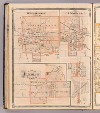 Kendallville, Noble Co. Ligonier, Map of Waterloo, De Kalb Co., Garrett. / Andreas, A. T. (Alfred Theodore), 1839-1900; Baskin, Forster and Company / 1876
