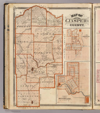 Map of Jasper County (with) Plan of Remington (and) Plan of Rensselaer. / Andreas, A. T. (Alfred Theodore), 1839-1900; Baskin, Forster and Company / 1876