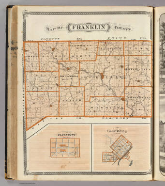 Map of Franklin County (with) Plan of Oldenburg, Plan of Laurel. / Andreas, A. T. (Alfred Theodore), 1839-1900; Baskin, Forster and Company / 1876