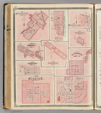 Plan of Charlestown ... (with) Utica, Henryville, Fredericksburgh, Hardinsburg, Salem, Greenville, Georgetown, Huntingburgh, Hanover. / Andreas, A. T. (Alfred Theodore), 1839-1900; Baskin, Forster and Company / 1876