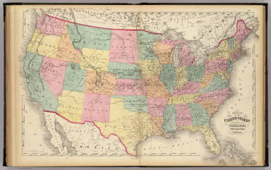 Map of the United States and Territories. / Walling, H. F.; Gray, Ormando Willis; Lloyd, H. H. / 1872