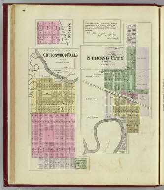 Cottonwood Falls, Strong City, Safford. / L.H. Everts & Co. / 1887