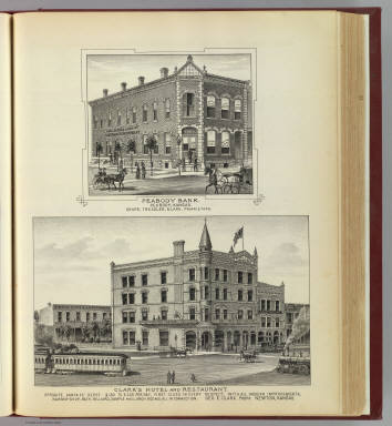 Peabody Bank, Peabody and Clark's Hotel & Restaurant, Newton, Kansas. / L.H. Everts & Co. / 1887