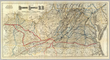 Map of the Richmond and Louisville R.R. connecting the railroads of Virginia with the railroads of Kentucky on the shortest route east and west from the Mississippi Valley to the Atlantic Ocean. Engraved, printed and manufactured by G.W. & C.B. Colton & Co. No. 182 William St. New York. Entered ... 1882 by G.W. & C.B. Colton & Co. ... at Washington.