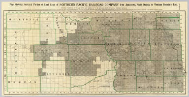 Map showing surveyed portion of land grant of Northern Pacific Railroad Company from Jamestown, North Dakota, to Montana boundary line ... (1895)