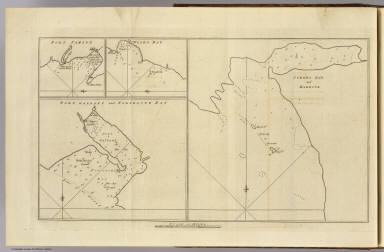 Cordes Bay and Harbour. (with) Port Famine. (with) Woods Bay. (with) Port Gallant and Fortescue Bay. (London: printed for W. Strahan, and T. Cadell in the Strand, MDCCLXXIII)
