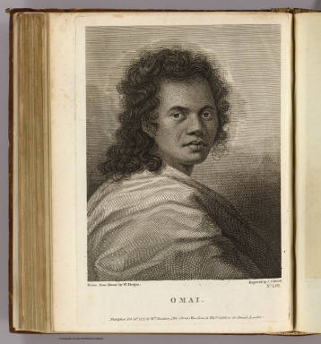 Omai. Drawn from nature by W. Hodges. Engraved by J. Caldwall. No. LVII. Published Feby. 1st., 1777 by Wm. Strahan, New Street, Shoe Lane & Thos. Cadell in the Strand, London.