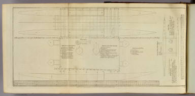 A draught plan & section of an Amsterdam canoe, seen in the South Seas, shewing two in the plan, their distance from out to outside being 13 ft. 9 in. secured with beams and fore & aft pieces of timber lashed together with sinnet made of Cocoa nut bass. W. Palmer sculp. No. XVI. Published Febry. 1st, 1777 by Wm. Strahan in New Street, Shoe Lane & Thos. Cadell in the Strand, London.