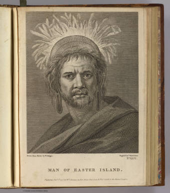 Man of Easter Island. Drawn from nature by W. Hodges. Engrav'd by F. Bartolozzi. No. XLVI. Published Feby. 1st, 1777 by Wm. Strahan in New Street, Shoe Lane & Thos. Cadell in the Strand, London.
