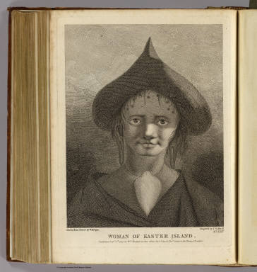 Woman of Easter Island. Drawn from nature by W. Hodges. Engrav'd by J. Caldwall. No. XXV. Published Feby. 1st, 1777 by Wm. Strahan in New Street, Shoe Lane & Thos. Cadell in the Strand, London.